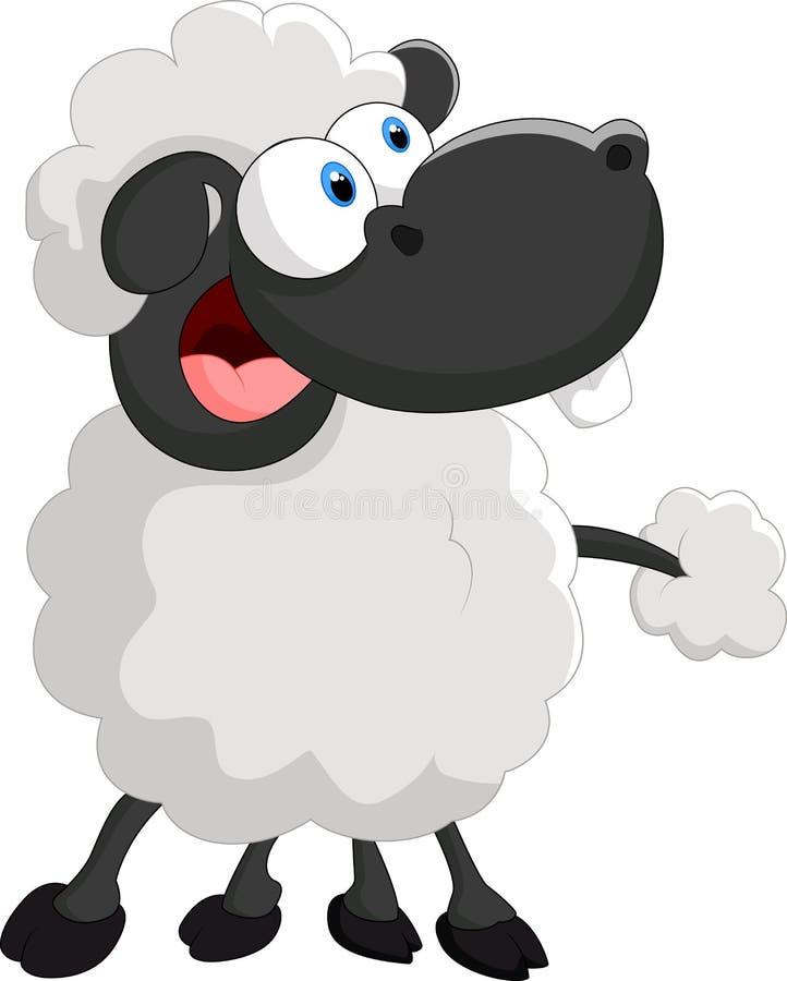 Moutons mignons de bande dessinée sur le fond blanc illustration de vecteur