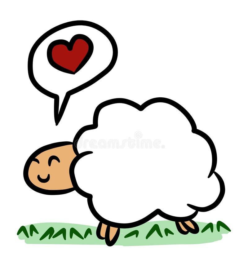 Moutons mignons de bande dessin?e sur le fond blanc illustration libre de droits