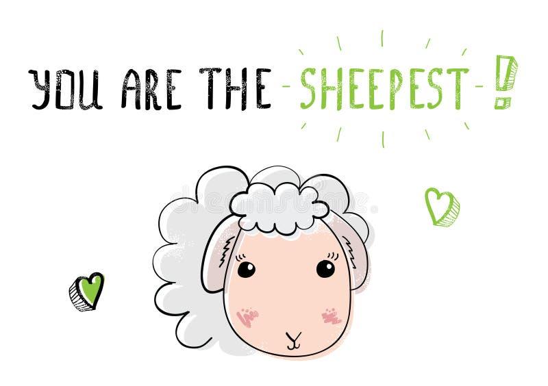 Moutons mignons de croquis Illustration pour le jour de valentines de saint photographie stock