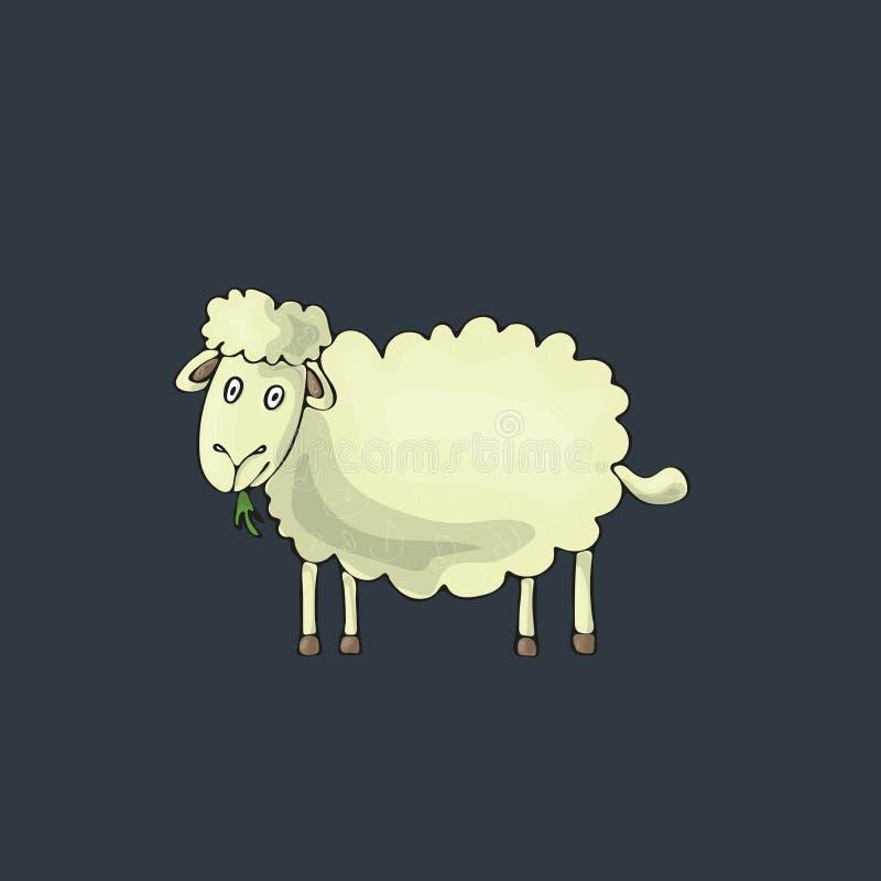Moutons mignons sur le fond gris Caractère d'isolement de vecteur de bande dessinée illustration libre de droits
