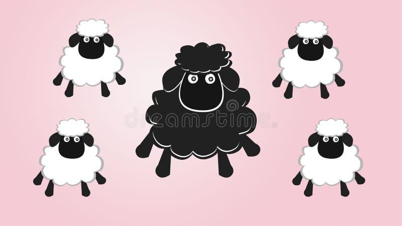 Moutons noirs dans la famille illustration libre de droits