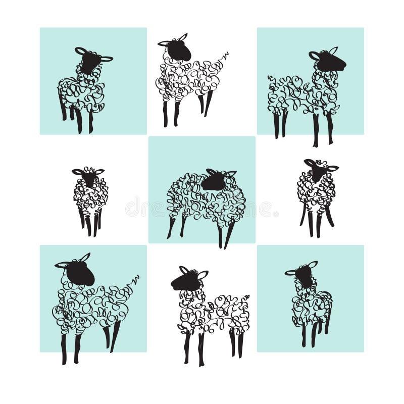 Moutons noirs et blancs Illustration de vecteur illustration libre de droits