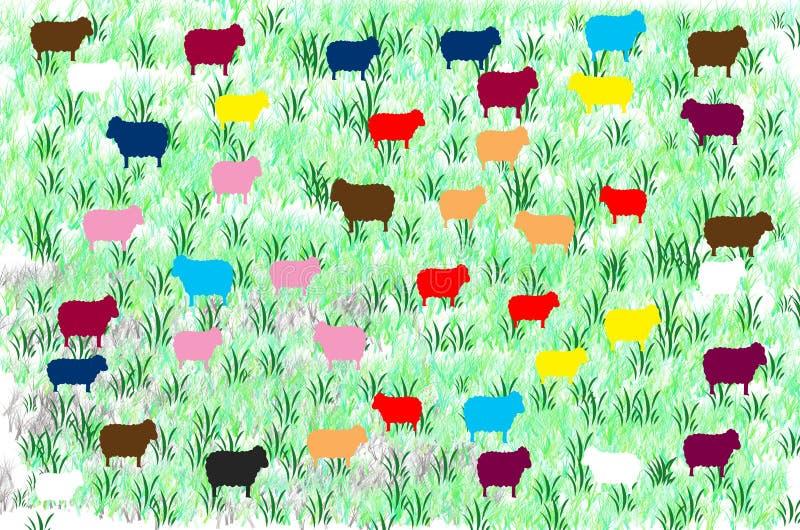 Moutons noirs et moutons colorés illustration stock