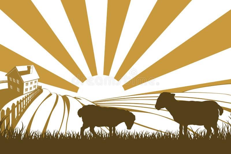 Moutons ou agneaux de silhouette à la ferme illustration de vecteur