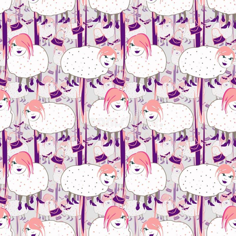 Moutons tirés par la main de fashionista avec les cheveux roses sur le fond gris illustration libre de droits
