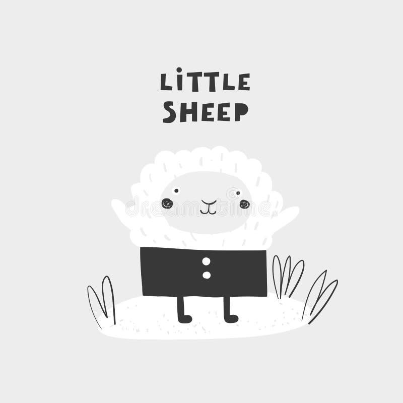 Moutons tirés par la main mignons de griffonnage avec marquer avec des lettres la citation Carte postale, bannière, copie de mur, illustration de vecteur