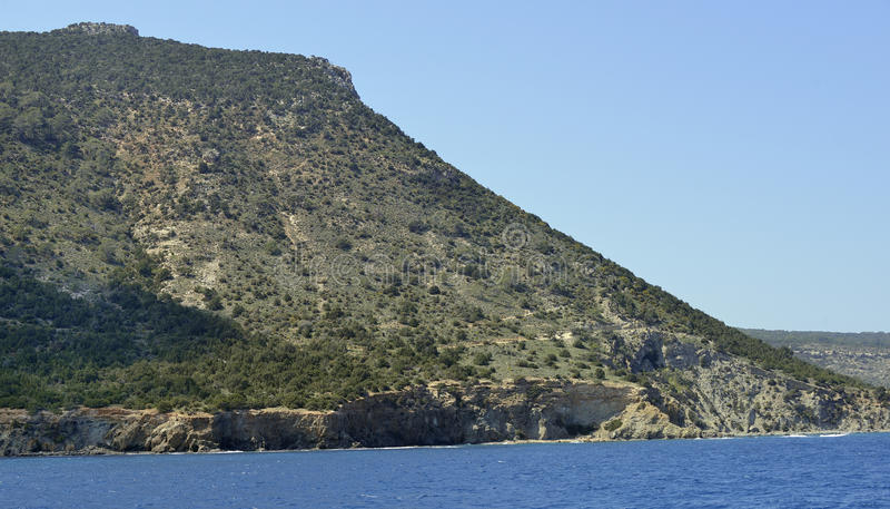 Moutti tis Sotiras. 370M viewed from a boat, Akamas Peninsula, Cyprus royalty free stock photos