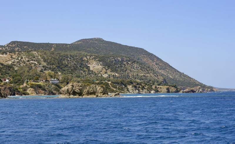 Moutti tis Sotiras. & x28;370M& x29; viewed from near Aphrodite& x27;s Baths, North East Coast of Akamas Peninsula, Cyprus stock photography