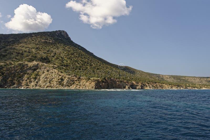 Moutti tis Sotiras. 370M viewed from a boat, Akamas Peninsula, Cyprus stock photo