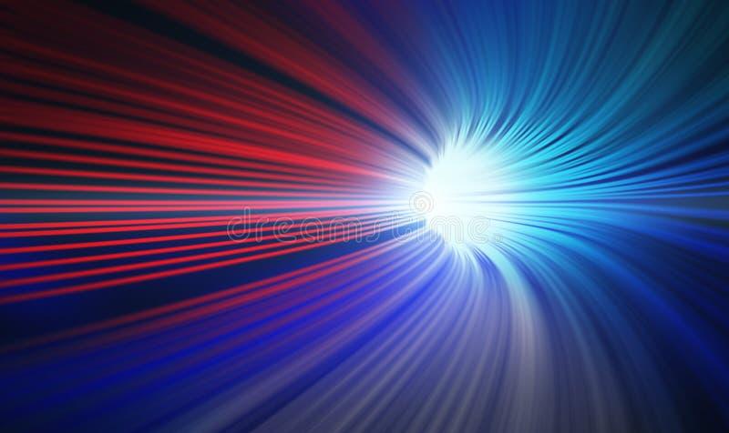 Mouvement abstrait rouge et bleu de vitesse dans le tunnel de route illustration de vecteur