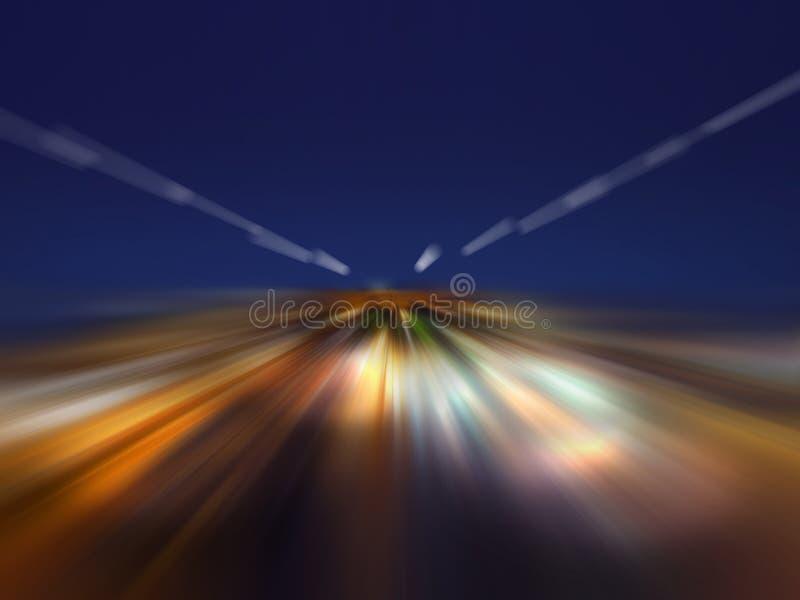 La vitesse de la lumière pendant la nuit illustration stock