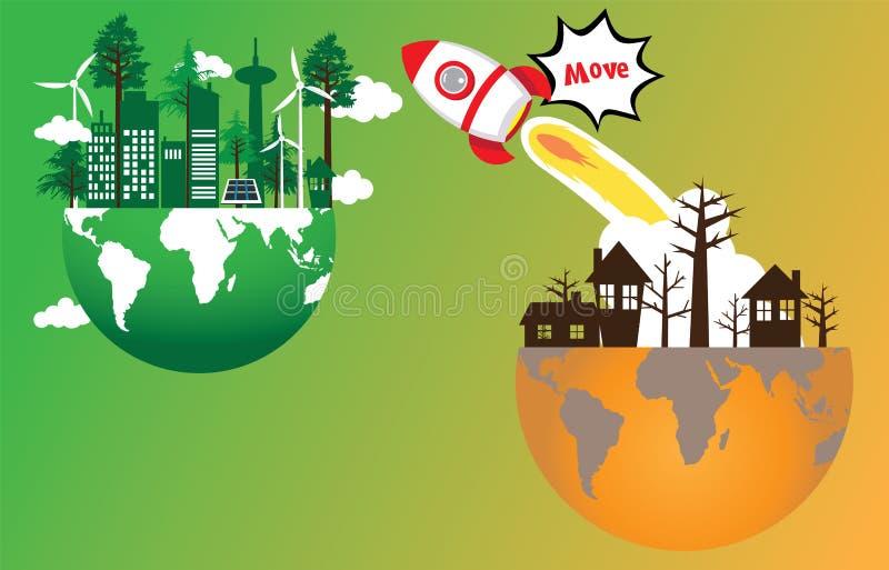 Mouvement de transport de Rocket de verdir le monde illustration libre de droits