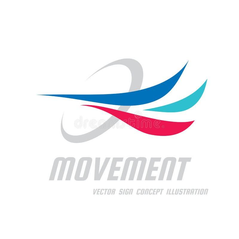 Mouvement - illustration de concept de calibre de logo d'affaires de vecteur Formes dynamiques colorées par résumé Signe de dével illustration stock