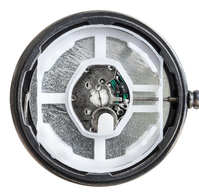 Mouvement moderne de quartz dans la rétro montre de poche de style image stock
