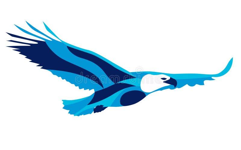 Mouvement stylisé à la mode d'illustration, aigle, ligne silhouette de vecteur de, illustration libre de droits