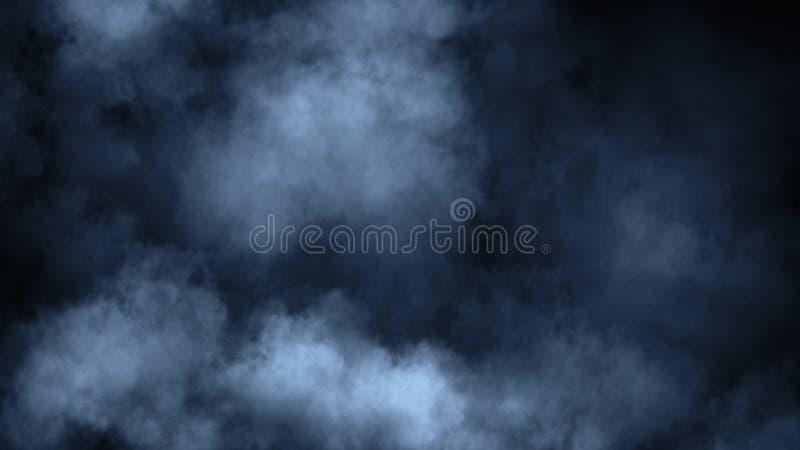 Mouvements bleus abstraits de vapeur de fum?e sur un fond noir Le concept de l'aromatherapy ?l?ment de conception photo libre de droits