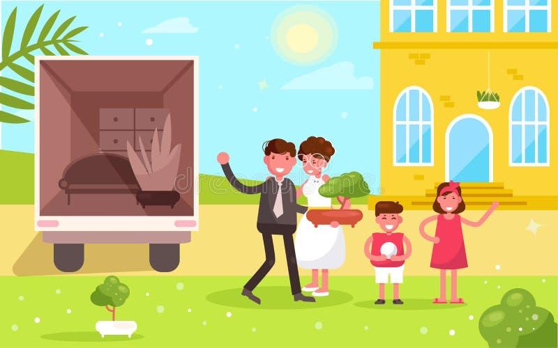 Mouvements de famille ? un nouveau vecteur ? la maison cartoon Appartement d'isolement d'art illustration libre de droits
