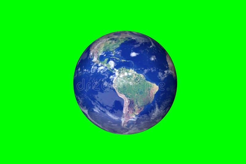 Mouvements de la terre de planète sur le fond vert images libres de droits