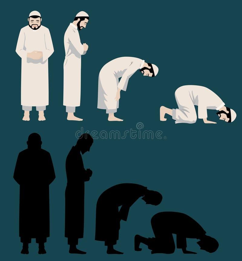 Mouvements de prière d'un homme musulman illustration libre de droits