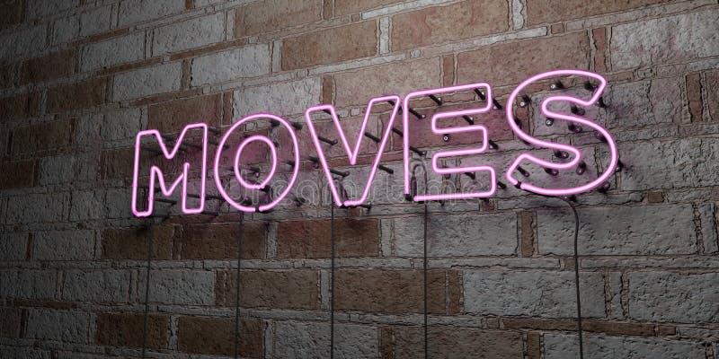 MOUVEMENTS - Enseigne au néon rougeoyant sur le mur de maçonnerie - 3D a rendu l'illustration courante gratuite de redevance illustration libre de droits