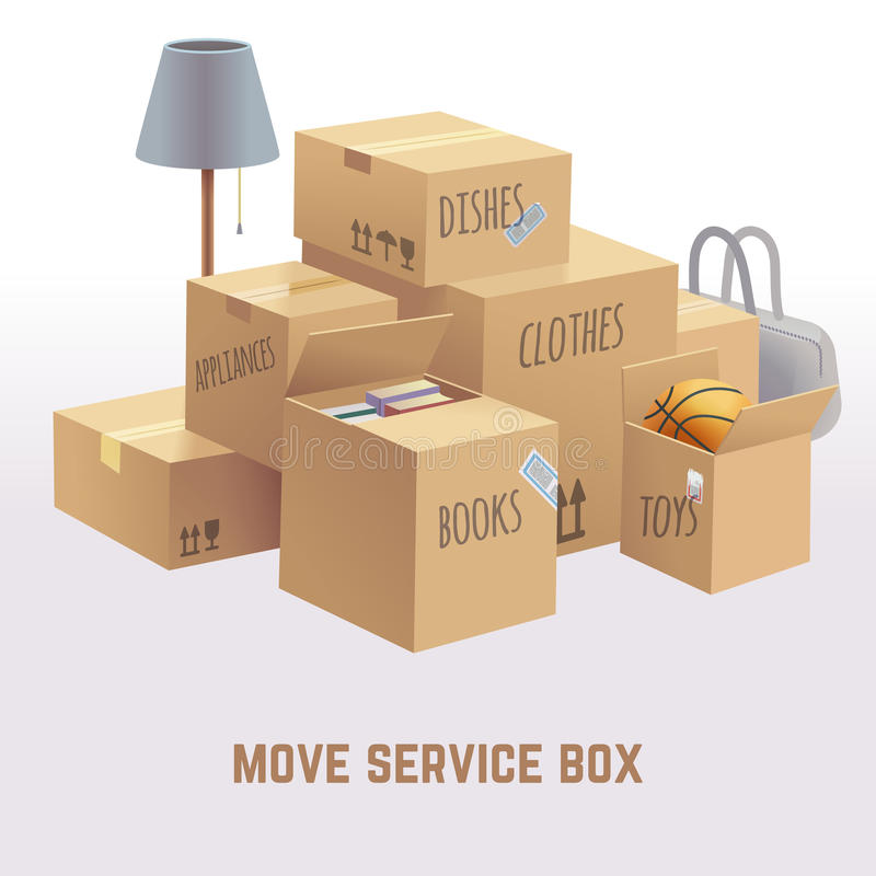 Mova a caixa de serviço, pacote, conceito do vetor da carga ilustração do vetor