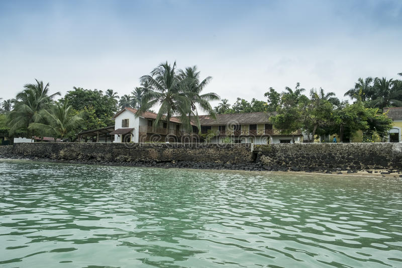 Mova para barcos na ilha tropical de São Tomé África fotografia de stock royalty free