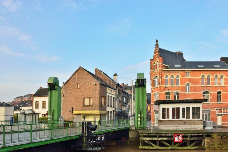 Movable bridge in center of Geraardsbergen stock photo