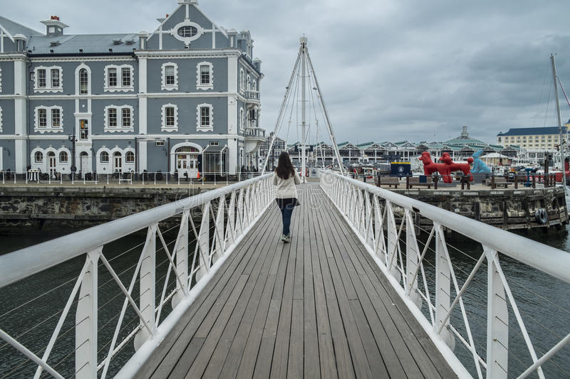 Movable bridge at waterfront harbor stock photography