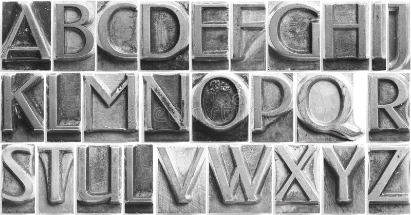 Movable Type Alphabet Set stock photography