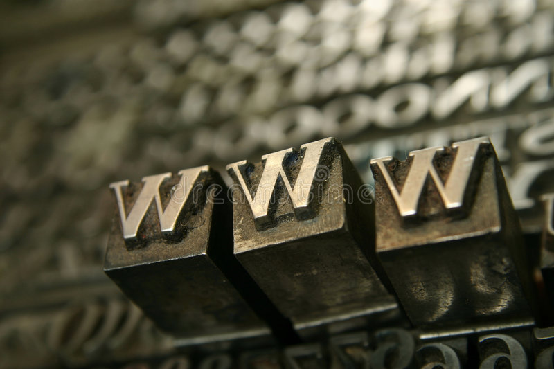 Movable type WWW. Typography workshop .Old Metallic Letters for Printing royalty free stock image
