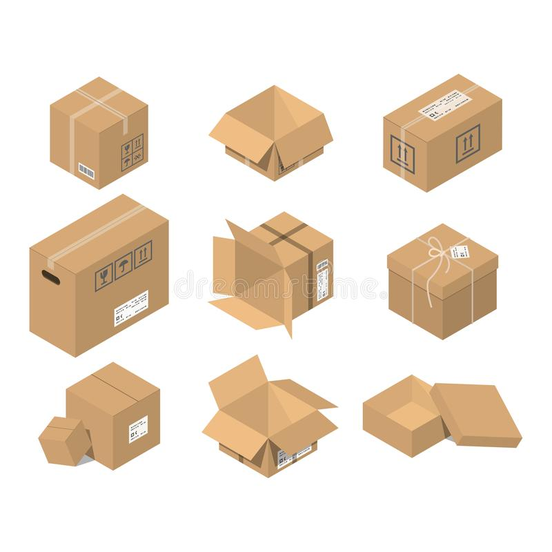 Move box service illustration. Craft empty package isolated on white background. Business relocation transportation stock illustration
