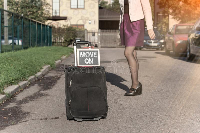 Move on concept. Business career and success background royalty free stock photos