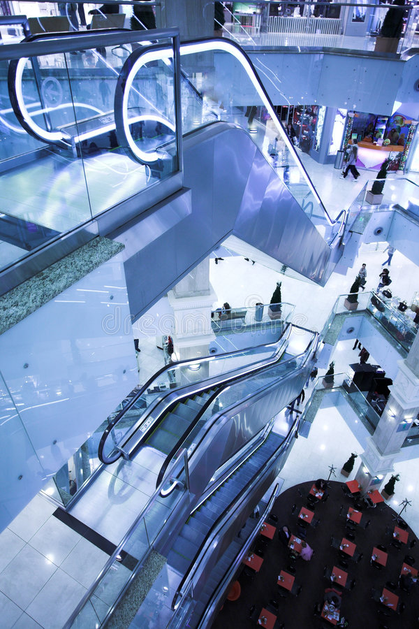 Download Modern escalator stock photo. Image of blue, hallway, stair - 6916736