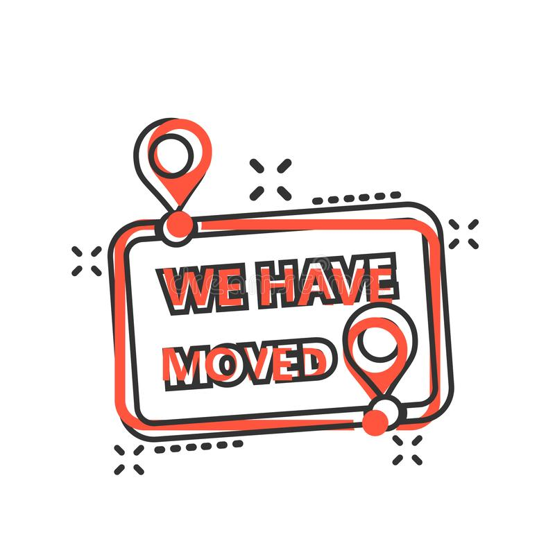 Move location icon in comic style. Pin gps vector cartoon illustration on white isolated background. Navigation business concept royalty free illustration