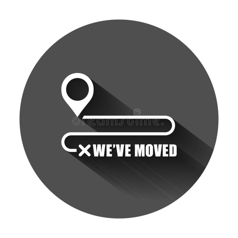 Move location icon in flat style. Pin gps vector illustration on black round background with long shadow. Navigation business vector illustration