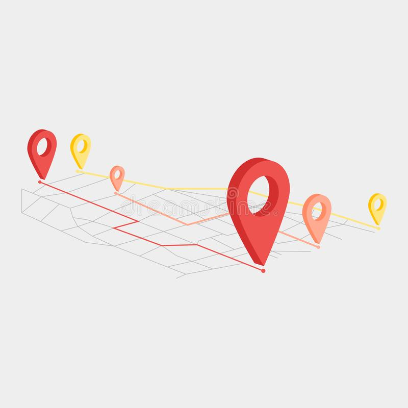 Move location icon in flat style. Pin gps vector illustration on white isolated background. Navigation business concept royalty free illustration