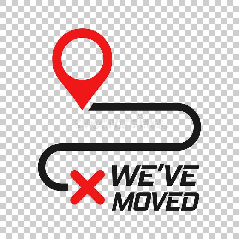 Move location icon in transparent style. Pin gps vector illustration on isolated background. Navigation business concept stock illustration