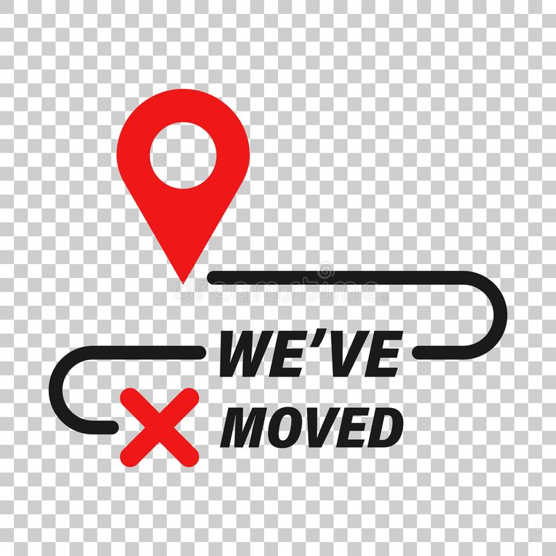 Move location icon in transparent style. Pin gps vector illustration on isolated background. Navigation business concept royalty free illustration