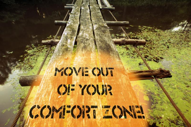 Move out ruined bridge. Move out of your comfort zone written with ruined wooden bridge fragment over forest river waters royalty free stock images