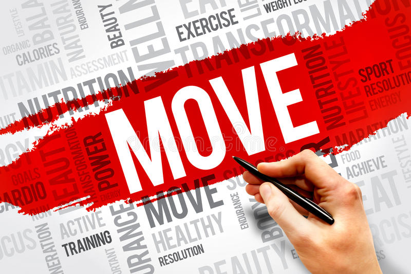 MOVE. Word cloud, fitness, sport, health concept stock photo