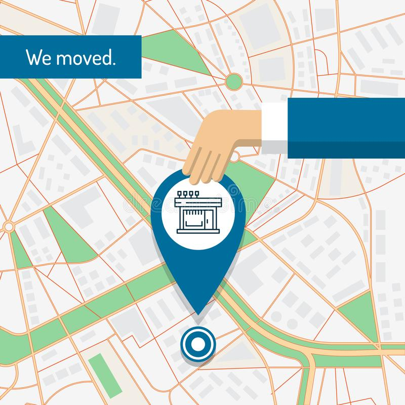 We are moved, changed address, moving concept. vector illustration