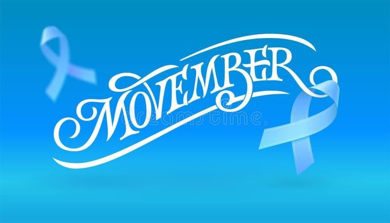 Movember印刷术witn飞行最高荣誉 前列腺癌了悟月 提高人` s卫生问题的了悟 向量例证