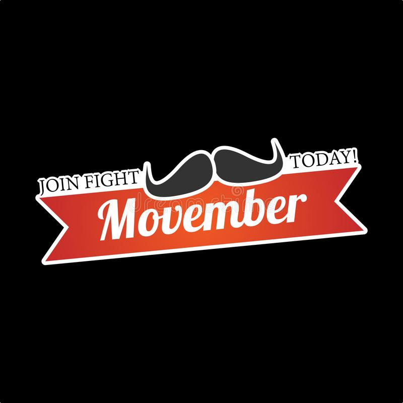 Movember: Ενώστε την πάλη σήμερα διανυσματική απεικόνιση
