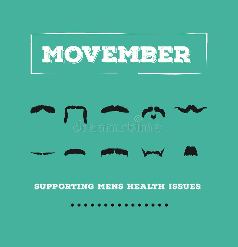 Movember advertisement vector with text and graphic stock illustration