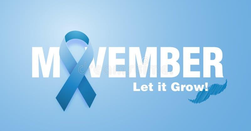 Movember, consapevolezza di aumento dei problemi di salute degli uomini come il fondo di vettore del carcinoma della prostata con royalty illustrazione gratis