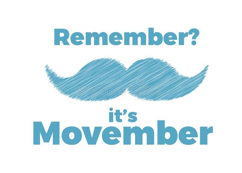 Movember, consapevolezza di aumento dei problemi di salute degli uomini come l'illustrazione di vettore del carcinoma della prost royalty illustrazione gratis