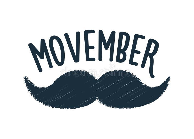 Movember, consapevolezza di aumento dei problemi di salute degli uomini come l'illustrazione di vettore del carcinoma della prost illustrazione di stock