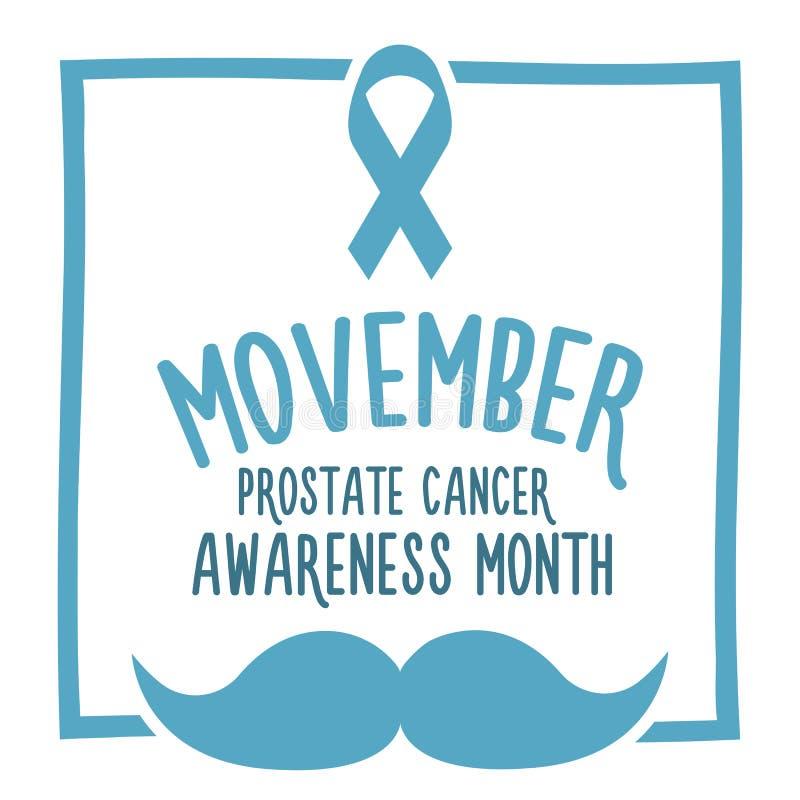 Movember, consapevolezza di aumento dei problemi di salute degli uomini come l'insegna di vettore del carcinoma della prostata co royalty illustrazione gratis