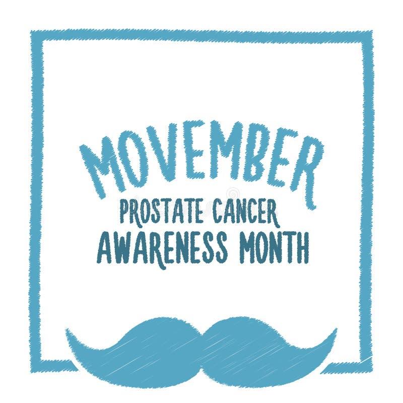 Movember, consapevolezza di aumento dei problemi di salute degli uomini come l'insegna di vettore del carcinoma della prostata co illustrazione vettoriale