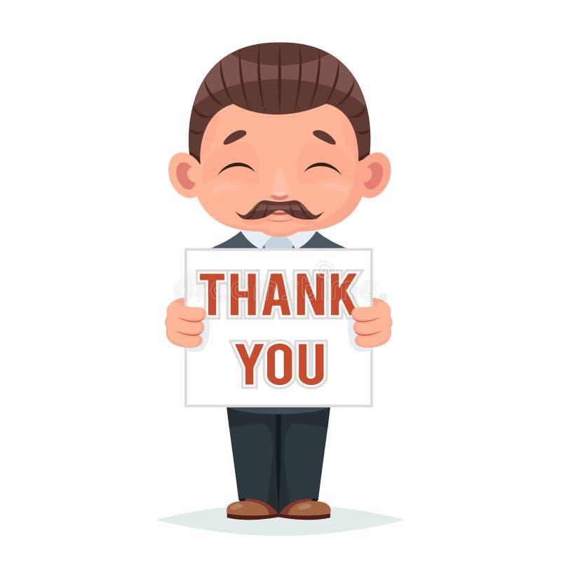 Movember dziękuje ciebie wąsa Listopadu poparcia biznesmena uśmiechniętej papierowej ślicznej maskotki postać z kreskówki szczęśl royalty ilustracja